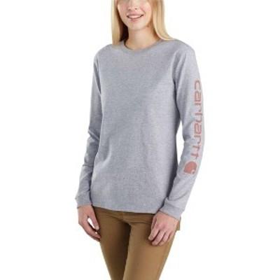 カーハート レディース シャツ トップス Carhartt Women's Workwear Sleeve Logo Long-Sleeve T-Shirt Heather Grey