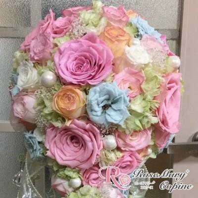 プリザーブドフラワー  ブライダル ブーケ キャスケードブーケ 結婚祝い 結婚式 bo-011