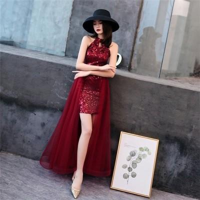 フォーマルドレス ワンピース お呼ばれ 袖なし 韓国風 サッシュリボン ウエディングドレス ブラック パーティードレス 二次会 花嫁 結婚式 演奏会