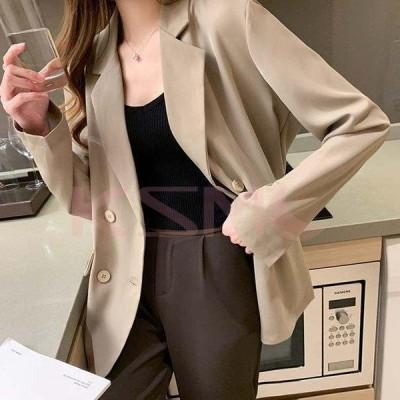 2色ブレザー スーツ スーツジャケット レディース きれいめ 秋 40代 30代 50代 大きいサイズブレザー カジュアルウエア 長袖 着痩せ 韓国風 通勤 オシャレ