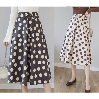全2色 スカート フリル 切り替え バイカラー 体型カバー 着痩せ ドット柄 大きいサイズ