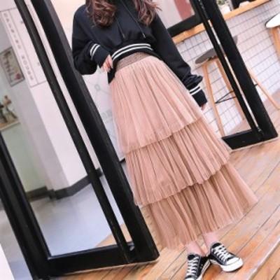 シフォン スカート 三段メッシュ ティアード プリーツ ロング マキシ ケーキスカート ロングスカート