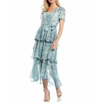 カルバンクライン レディース ワンピース トップス Tiered Printed Chiffon Maxi Dress Jungle Multi