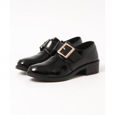 Shoes in Closet -シュークロ- / 超軽量ソール使用《XS~5Lサイズ展開》◆ベルクロ マニッシュ バックル付き ローファー 《3.5㎝ヒール》 7666WB WOMEN シューズ > ローファー