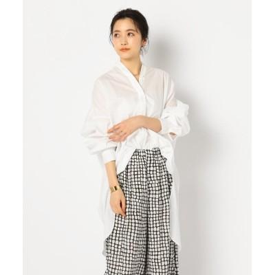【ノーリーズ】 タイプライターギャザーロングシャツ レディース ホワイト F NOLLEY'S
