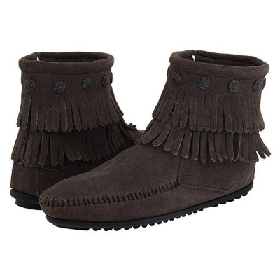 ミネトンカ Double Fringe Side Zip Boot レディース ブーツ Grey Suede