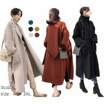 ダッフルコート レディース チェスターコート ロング コート 中棉コート スリット ラグラン袖定番コート 5色 XS-2XL二枚送料無料