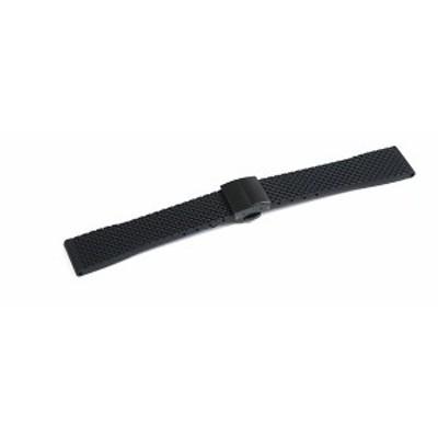 腕時計 ラバー ベルト 20mm 22mm 24mm 黒 プッシュ式 Dバックル 黒 クリッカー 仕様 rpd-mr03-bk-bk