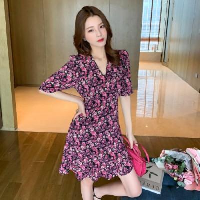 フローラル2020夏新気質ミッドレングスVネック蓮の葉薄いドレス女性のファッションスカート