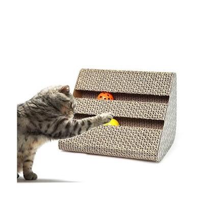 GPR ネコ用品 猫 三角台座 爪とぎ 両面使い 鈴入り つめとぎ 知育おもちゃ ダンボール 猫スクラッチャー (