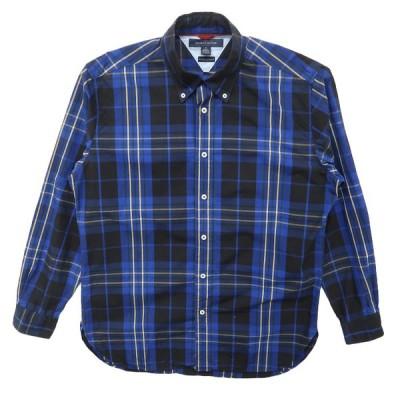 古着 TOMMY トミーヒルフィガー ボタンダウンシャツ 長袖 チェック ブルーベース サイズ表記:M