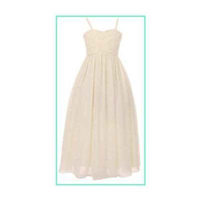 Sleeveless Chiffon Pleated Pageant Easter Graduation Long Little Flower Girl Dress (50K24D) Ivory 6並行輸入品