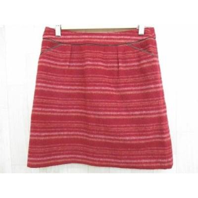 【中古】ナチュラルビューティーベーシック NATURAL BEAUTY BASIC スカート タイト ミニ丈 ウール タック ボーダー 赤 M