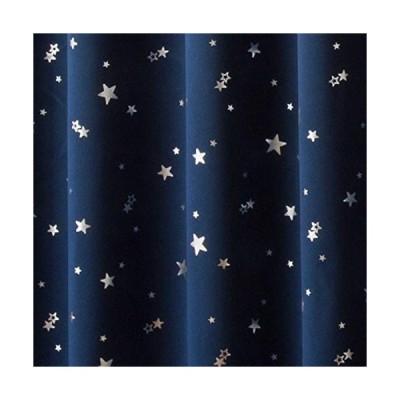 カーテン 1級遮光 断熱 箔プリント 星柄 プラネット ネイビーブルー 幅100cm丈110cm 2枚入 8サイズ