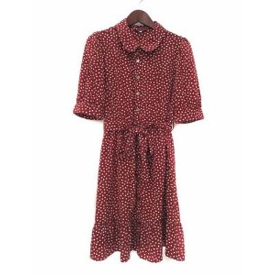 【中古】レストローズ L'EST ROSE シャツ ワンピース 2 赤 レッド 半袖 ドット柄 リボン レディース