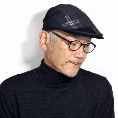 ハンチング帽子 メンズ 黒 パッチワーク ブランド ダックス DAKS ブラック