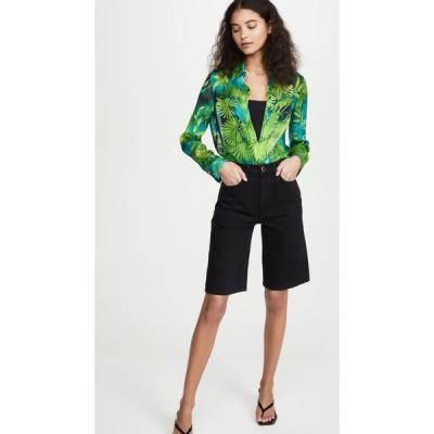 ヴェルサーチ Versace レディース ブラウス・シャツ トップス Palm Print Long Sleeve Blouse Verde/Stampa