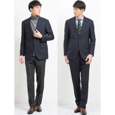 ウール混コーディネート2パンツ レギュラーフィットスーツ ウィンドペン紺