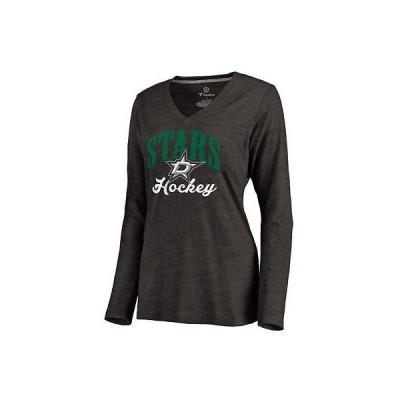 アメリカ USA カレッジ 全米 リーグ ホッケー NHL Dallas Stars レディース ブラック Victory Script 長袖 トライブレンド Vネック Tシャツ