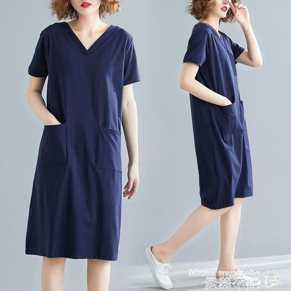 大碼洋裝 2021新款夏季大碼胖mm寬鬆女裝百搭口袋V領T恤裙子顯瘦短袖連身裙 新品