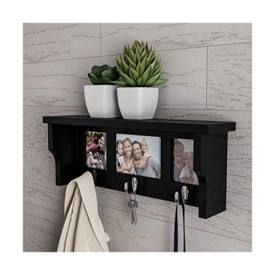 Lavish Home Wall Shelf and Picture Collage with Ledge and 3 Hanging Hooks Frame Decor Shelving with Modern Look, Holds 3 Photos (Black)
