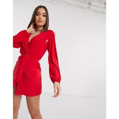 クラブエル ロンドン Club L London レディース ワンピース ラップドレス ワンピース・ドレス Club L slinky wrap dress with plunge front in red レッド