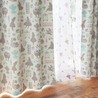 カーテンセット カーテン 安い おしゃれ ディズニー 遮光 UVカット ミラーレース ふしぎの国のアリス 約100×110 約100×90 4枚