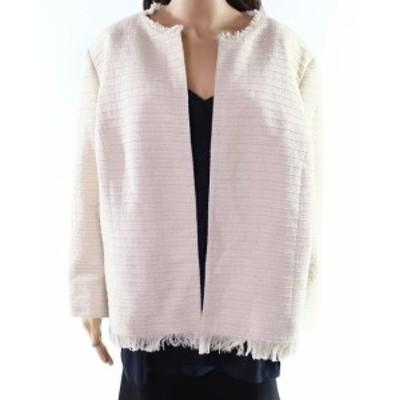 ファッション 衣類 Kasper NEW Beige Women 20W Plus Open Front Stripe Tweed Fringe Jacket