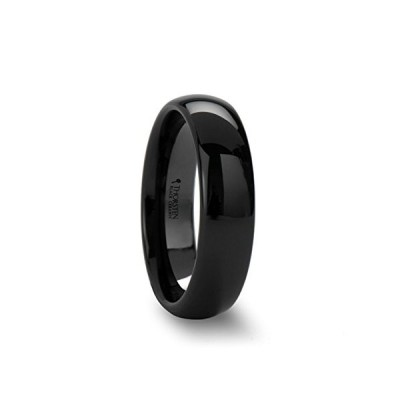 Thorsten Landon Domed Polish Finished Black Ceramic Ring 6mm Wide Wedd