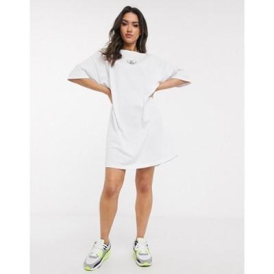 エイソス ASOS DESIGN レディース ワンピース Tシャツワンピース ワンピース・ドレス oversized t-shirt dress with no f$$k boys slogan in white ホワイト
