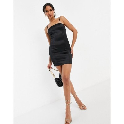 セントジニーズ ミディドレス レディース Saint Genies satin mini dress in black  エイソス ASOS sale ブラック 黒