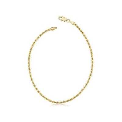 【新品】Kooljewelry ソリッド10Kイエローゴールド 1.7mm ソリッドロープチェーンブレスレット