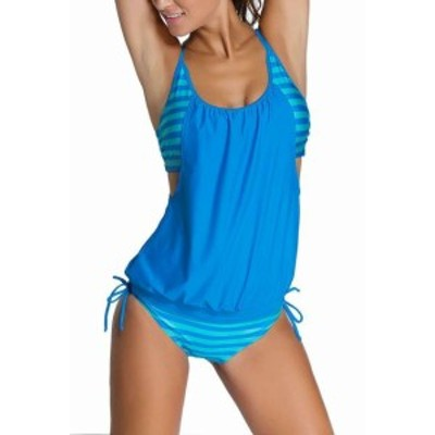 スポーツ用品 スイミング EVALESS NEW Blue Womens Size Large L Tankini Striped Tied Swimwear- #205