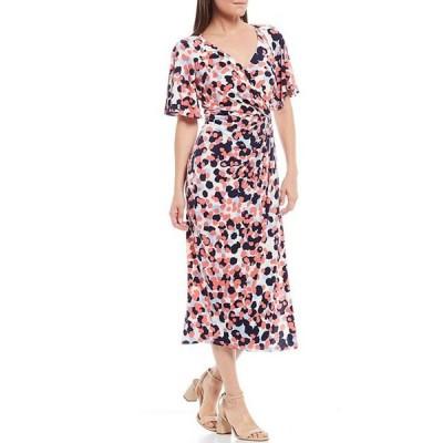 マギーロンドン レディース ワンピース トップス Printed Matte Jersey Short Sleeve Faux Wrap Midi Dress