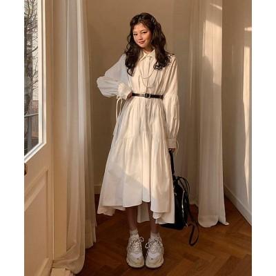 韓国 ファッション シャツワンピース シャツワンピ アシンメトリー フレア 袖リボン 長袖 ゆったり 無地 大人可愛い 春 韓国 オルチャン