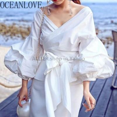 レディースファッション OCEANLOVEソリッドホワイトパフスリーブBlusasハイファッション春2020ヴィンテージブラウス女
