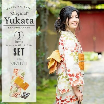京都きもの町オリジナル 浴衣3点セット「赤×緑 萩」レディース S、フリー、TL、LL 女性浴衣 綿浴衣 レトロss2106ykl50