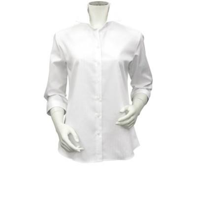 レディース ウィメンズシャツ 七分袖 形態安定 スキッパー衿 オーガニックコットン100% 白×ストライプ織柄