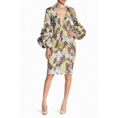 ファッション ドレス CQ by CQ Floral Tropical Print Puffy Sleeve Green Small S Sheath Dress