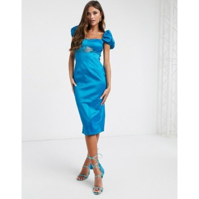 ナーナー レディース ワンピース トップス NaaNaa satin midi dress with lace detail in teal