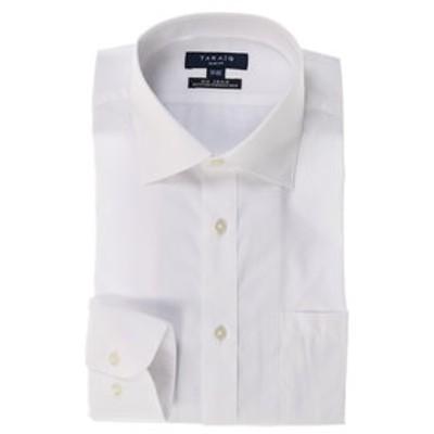 形態安定スリムフィットワイドカラー長袖ビジネスドレスシャツ