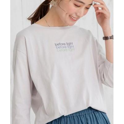 coen レディース ロゴプリント7分袖Tシャツ トップス Tシャツ/カットソー ライトグレー L