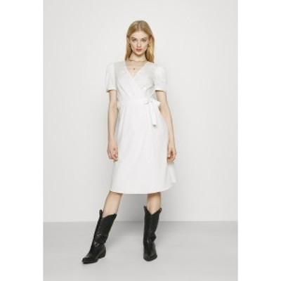 ヴィラ レディース ワンピース トップス VISILLE WRAP MIDI DRESS - Day dress - snow white snow white