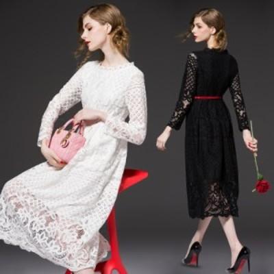 ラウンドネック 無地 ベーシックカラー 模様 ウエストベルト バイカラー 透け感 長袖 ミディアム丈 ドレス