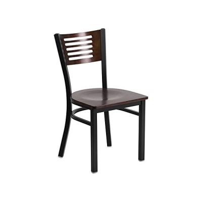 Offex Black Decorative Slat Back Metal Restaurant Chair with Walnut Wood Back並行輸入品