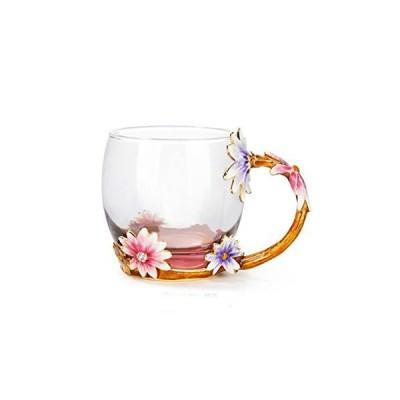 クリエイティブ ホームデコレーション エナメル フラワークリスタル ガラス コーヒー 紅茶 水 ミルク カップ-グラス マグ ギフト包装 320-37
