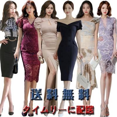 高品質韓国ファッションOL正式な場合礼装ドレスセクシーなワンピース一字肩二点セット側開深いVネックやせて見えるハイウエワンピース春夏服メリヤスワンピース