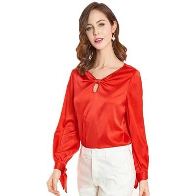 SIXIULIYU 桑絹女性シャツ長袖シャツ弓V形襟プラスサイズレディーストップオフィスブラウス (01, 2XL)