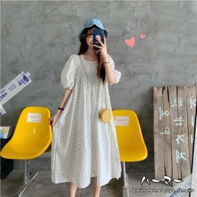 夏新作 レディース ワンピース  お出かけ 半袖 バブル袖  リゾート 花柄 パーティー マキシ丈 森ガール  洋服  かわいい ふわふわ