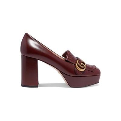 グッチ Gucci レディース パンプス シューズ・靴 Marmont fringed logo-embellished leather platform pumps